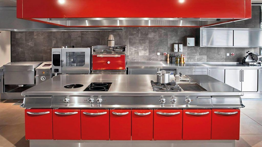 Cocina industrial color rojo